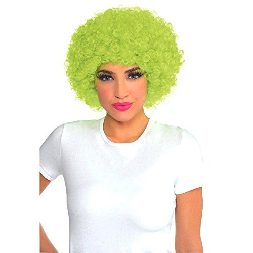 (Amscan Party Ready Team Spirit Curly Wig Accessory, Neon Green, Plastic ,)