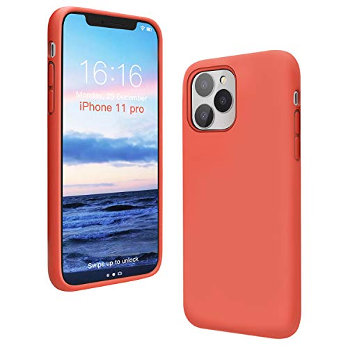 ANTTO Case for iPhone 11 Pro, Anti-Slip Liquid Silicone Gel Rubber Phone Case with Soft Anti-Scratch Microfiber Cloth Lining Cushion Shockproof Protective Case Cover, Orange red