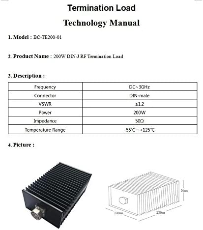 BECEC 200W DIN Male Connector rf Dummy Load RF Termination Load,DC 0 to 3 GHz,50ohm