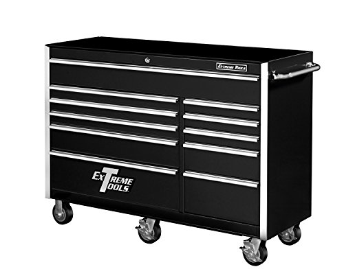 Extreme Tools EX5611RCBK 11 Drawer Roller Cabinet with Ball Bearing Slides, 56-Inch, Black High Gloss Powder Coat Finish - 56