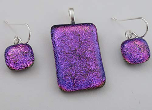 Bright pink Purple Magenta fused dichroic glass pendant and earrings 3 piece set