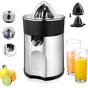Aicok Presse-agrumes électrique en aluminium avec bec anti-gouttes et 2cônes interchangeables pour jus d'orange, citron, citron vert 85 W Argenté