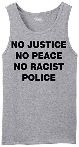 Men's Tank Top No Justice No Peace No Racist Police Black Lives Rally Tee Sport Grey L (No Justice No Peace No Racist Police Shirt)