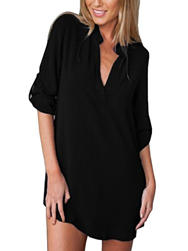 LaoZan Donna Scollo a V Chiffon Maniche Lunghe Camicetta Camicia Tunica Lungo Tops Shirt Nero