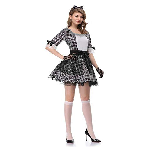 Ambiguity Cosplay Costume Ladies Halloween Costume Party Outfit Costume Black and White Check Maid Uniform Zombie Costume ()