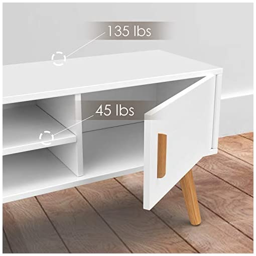 Living Room amzdeal TV Stand White Wooden TV Cabinet for TV up to 48 Inch, Modern Storage Entertainment Center, Media Console Table… modern tv stands