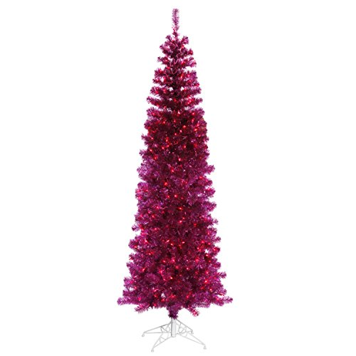 Vickerman Pre-Lit Sparkling Fuchsia Pencil Artificial Christmas Tree with Pink Lights, 9'