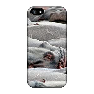 Excellent Iphone 5/5s Case Tpu Cover Back Skin Protector Animals Beasts Hippos In The Bathing