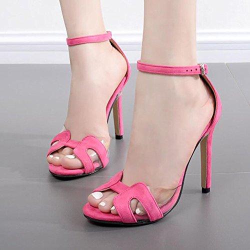 Tacones Negro Red Rose tacón altos de Sandalias verano ocasionales mujeres cómodos de las GAOLIXIA Zapatos de hueco Moda Red Rose qrwqUCH6n
