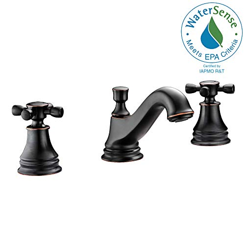 ANZZI Melody 8 in Twin Dual Handle Three Hole Bathroom Sink Faucet in Oil Rubbed Bronze   Vessel Basin Sinks Widespread Waterfall Deck Mounted cUPC Lavatory Faucet   Valve included   L-AZ007ORB ()