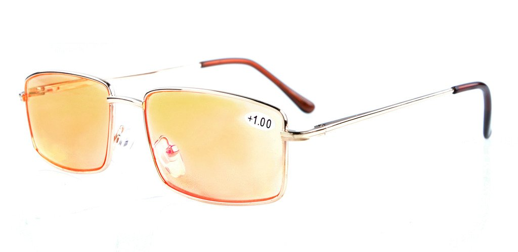 Eyekepper Anti-Blue Ray//Anti-Strain Computer Reading Glasses with Case Gold//Amber Tinted Lens, 2.50