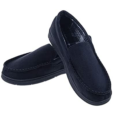 MIXIN Men's Moccasins Slippers Comfy Warm Rubber Sole Slip-on Memory Foam Cushions Indoor Outdoor Driving Shoes Black Size 8-9 US 7.5-8.5 UK