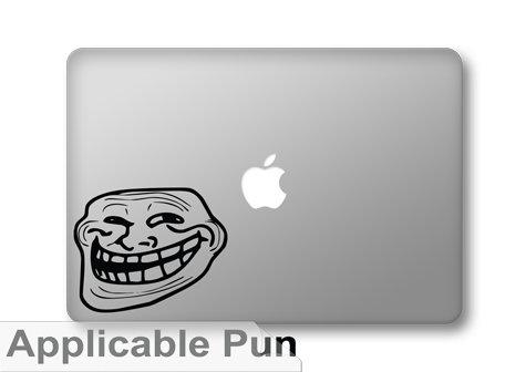 "Troll Face Grin Image Macro Meme - 5"" Black Vinyl Decal Deco"