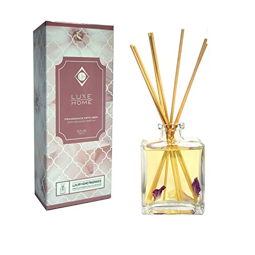 Luxe Home Black Orchid Fragrance Reed Diffuser Oil Set | Sultry Blend of Frankincense, Bergamot, Black Orchid, Black Plum & Patchouli Scented Sticks | Perfect Housewarming Gift -