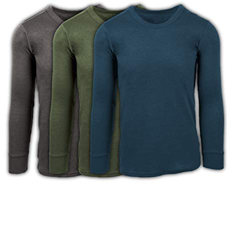 Andrew Scott Men's 3 Pack Premium Cotton Thermal Top Base Layer Long Sleeve Crew Neck Shirt (Large, 3 Pack- Charcoal/Olive/Legion Blue) - Mens Thermal Neck Crew