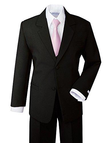 Spring Notion Boys' Formal Dress Suit Set 10 Black Suit Pink Tie by Spring Notion