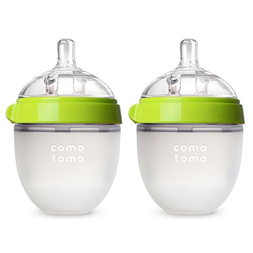 Comotomo Baby Bottle, Green, 5 Ounce (2 Count) (The Best Breastfeeding Bottles)