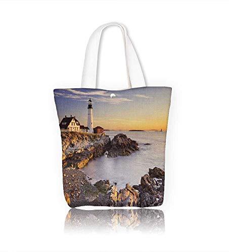 Reusable Cotton Canvas Zipper bag The Portland Head Lighthouse in Cape Elizabeth Maine Tote Laptop Beach Handbags W12xH14xD4.7 INCH