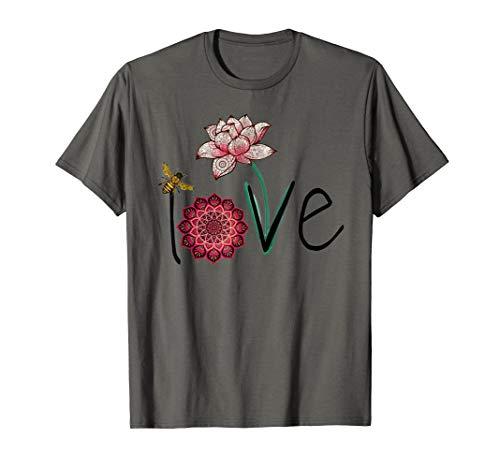 Namaste Love bee lotus yoga woman shirt, flower mom t-shirt ()