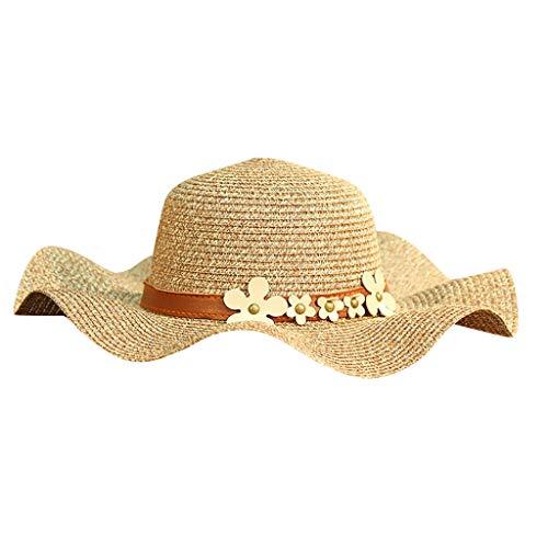 XILALU Women Beach Straw Hat Jazz Sunshade Panama Trilby Fedora Gangster Cap Packable Wide Brim Beach Cap Coffee ()
