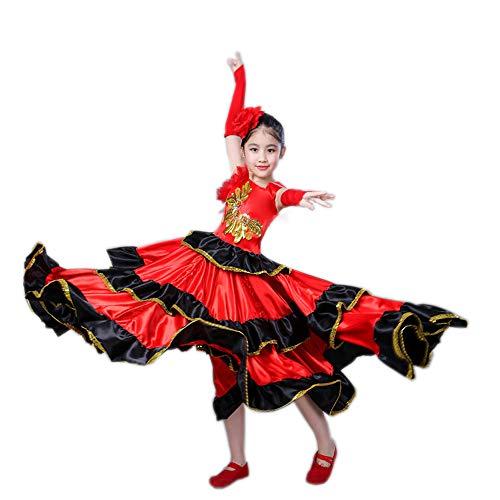 uniquetj Red Spanish Flamenco Belly Dance Dress Costume 4-12 Girl Attach Headflower (360 Degree, 10-12)
