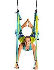 YOGABODY Yoga Trapeze (Official) with DVD, Blue/Green - Yoga Inversion Swing