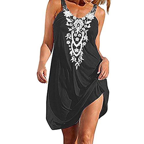 NRUTUP Boho Lace Sundress Sale Women Beach Sling Sleeveless Casual Mini Beachwear Dress Summer Dress(M,Black)