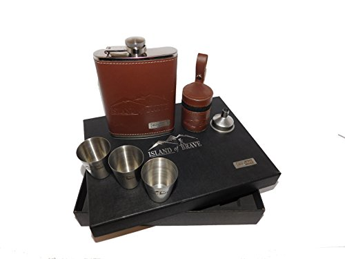 Pocket Hip Flask Set 8 Oz. Gift for real men with a male - Flask Mens