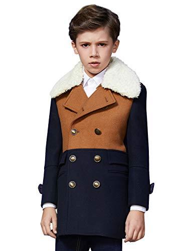 ss Coat Big Boys Hooded Coat Thick Warm Jacket Blazer Autumn and Winter Overcoat ()