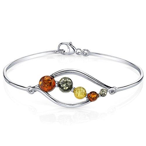 Baltic Amber Open Leaf Bangle Bracelet Sterling Silver Multi (Sterling Silver Amber Gemstone Bracelet)