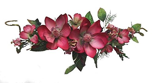 Wholesale Silk Floral 26' Cotton Magnolia Artificial Fake Filler Swag for Home Garden, Wedding and Special Events Indoor & Outdoor Decoration Wall décor, 5-in, Burgandy