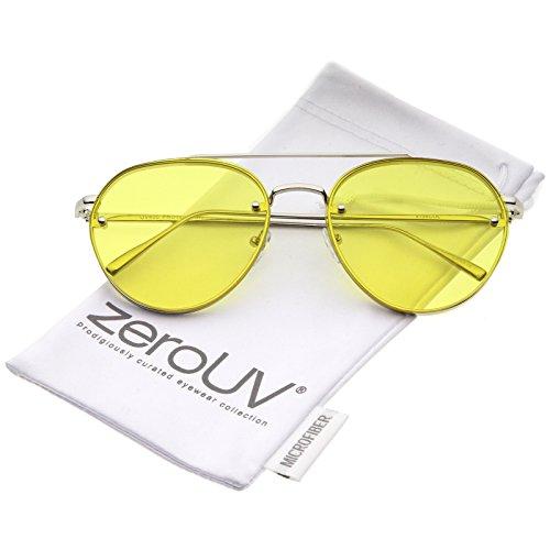 Modern Slim Temples Brow Bar Rimless Colored Flat Lens Aviator Sunglasses 59mm