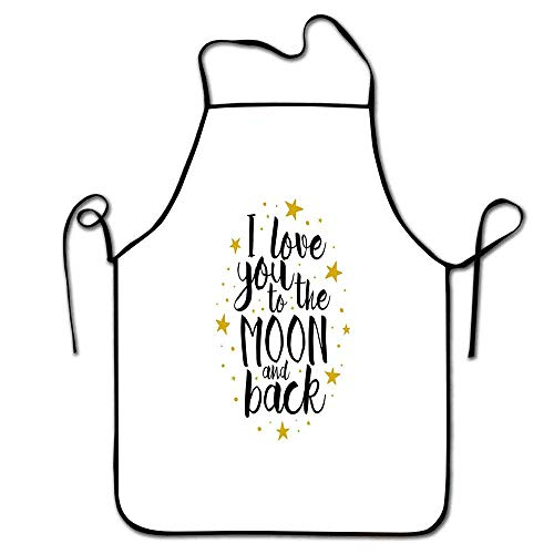 Love Apron Convenient I Love You to The Moon and Back Doodle Stars and Inspirational Valentines Quote Apron Cooking Gold Black White - Love Chefs I Hat Lucy