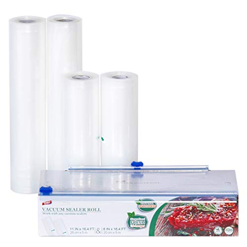 TAILI Vacuum Sealer Rolls Pack of 4 7.8/11 inch * 16 feet 2 Cutters Included Vacuum Sealer Bags Multilayer BPA Free FDA Approved Fit for All Vacuum Sealer Machine Ideal for Sous Vide Cooking Freezer