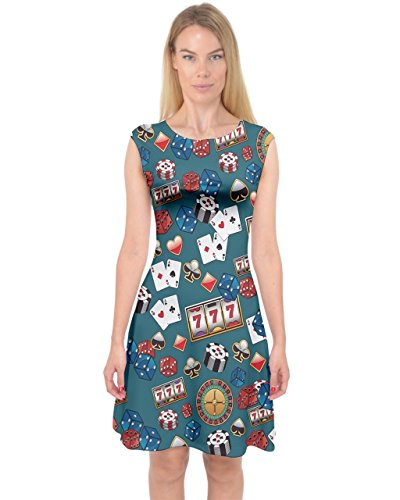 PattyCandy Women's Sexy Capsleeve Midi Dress Casino Jackpots Pattern - XL]()