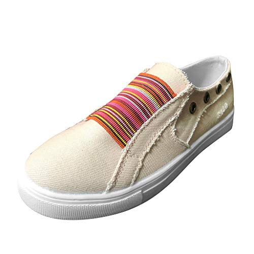 Fashion Comfortable for Walking,LYN Star❀ Women's Canvas Sneakers with Decorative Zippers Summer Casual Shoes Beige