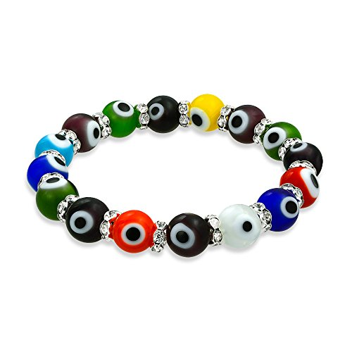 Beaded Silver Bracelet Stretch Plated (Bling Jewelry Evil Eye Multi Color Stretch Crystal Bracelet Silver Plated)