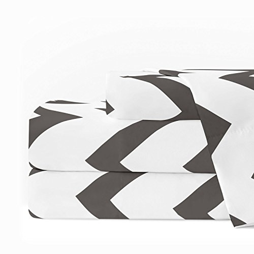 Egyptian Luxury 1600 Series Hotel Collection Chevron Pattern Bed Sheet Set - Deep Pockets, Wrinkle and Fade Resistant, Hypoallergenic Sheet and Pillowcase Set - King - Charcoal/White