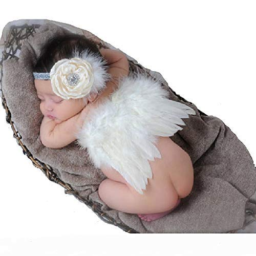 Fanamskl Baby Girl Headband With Angel Feather Wing Costume Photo Prop Outfit -
