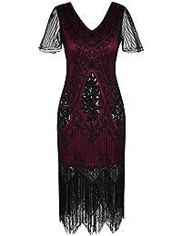 Women's 1920s Dress Sequin Art Deco Flapper Dress with Sleeve
