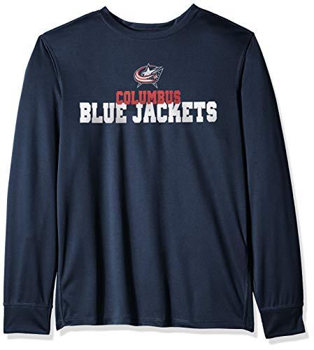 (NHL Columbus Blue Jackets Male OTS Poly Dot Long sleeve Tee, Fall Navy, Medium)