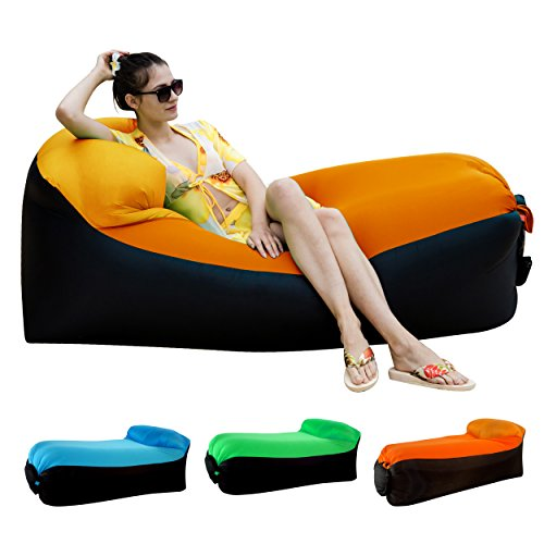 Inflatable Lounger Air Sofa Chair with U-shape neck pillo...