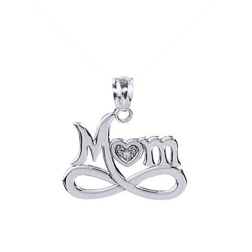 """14K Or Blanc Diamant Cœur Infinity """"Mom"""" avec pendentif"""