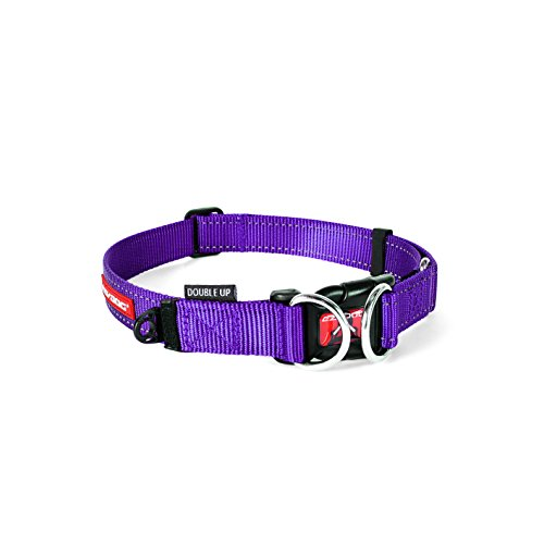 EzyDog Double Up Premium Nylon Dog Collar with Reflective Stitching - Double D-Rings for Superior Strength, Safety, and Comfortability - Non-Rusting and Includes an ID Attachment (Large, Purple)