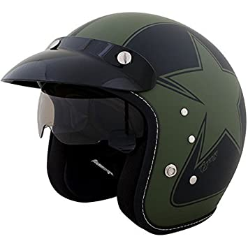 Duchinni D501 ABIERTO Retro Casco de Moto Verde Negro - Medium