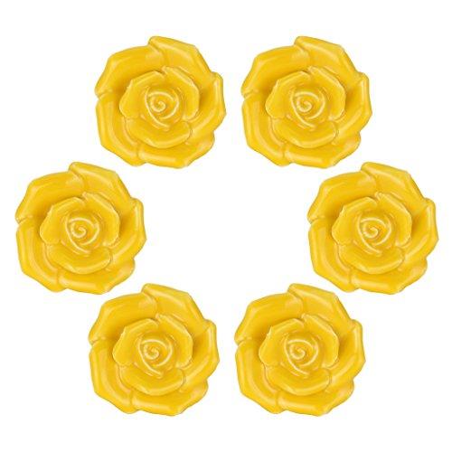 - WOLFTEETH Yellow Elegant Rose Flower Knobs Vintage Ceramic Pulls Kitchen Cabinet Dressing Table Dresser Handle 6pcs