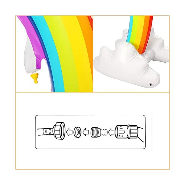 """Inflatable Rainbow Yard Summer Sprinkler Toy, Over 6"""" Long Outdoor Lawn Rainbow Arch Water Spray Toy for Kid Child Adult Games 7"""