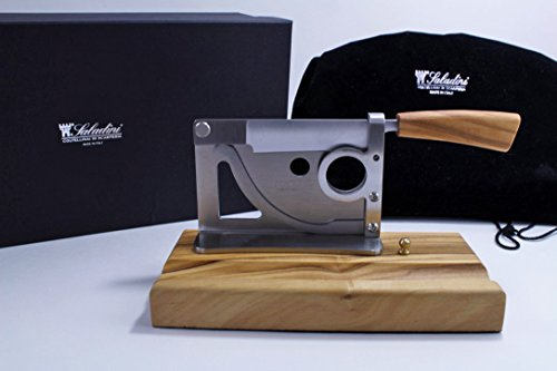 Elegant handmade Italian table-top cigar cutter with olive wood base and handle by Saladini Knives (Image #5)