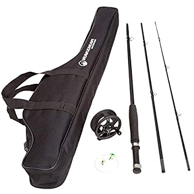 Wakeman Charter Series Fly Fishing Combo with Carry Bag - Black by Wakeman