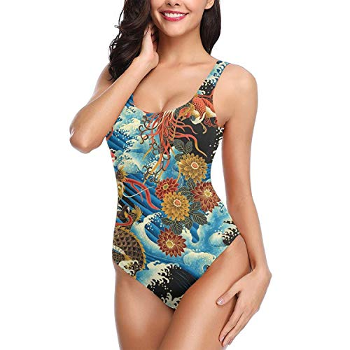 Womens Bikini One Piece Hign Cut Swimsuits Monokini Backless Swimwear Bathing Suit Eastern Chinese Style Dragon Phoenix Sea Wave White